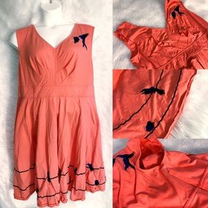 Eshakti Coral Dress with Embroidered Birds Size 2X